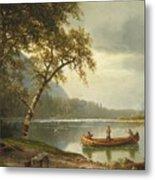 Salmon Fishing On The Caspapediac River Metal Print by Albert Bierstadt