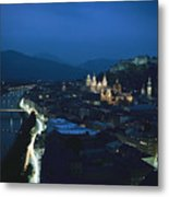 Salzburg, Austria, Night View Metal Print