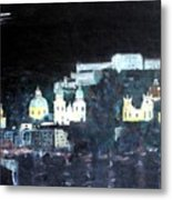 Salzburg In Moonlight Metal Print