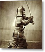 Samurai With Raised Sword Metal Print by F Beato