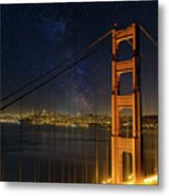 San Francisco City Skyline Through Golden Gate Bridge Metal Print