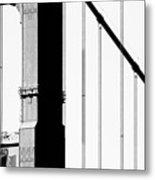 San Francisco Golden Gate Bridge . Black And White Photograph . 7d7954 Metal Print