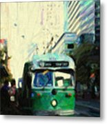 San Francisco Trolley F Line On Market Street Metal Print by Wingsdomain Art and Photography