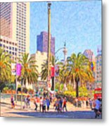 San Francisco Union Square Metal Print by Wingsdomain Art and Photography