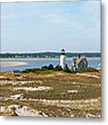 Sandy Neck Lighthouse With Fishing Boat Metal Print
