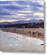 Santa Monica Sunset Panorama Metal Print
