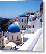 Santorini Churches Metal Print