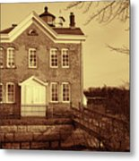 Saugerties Lighthouse Sepia Metal Print by Nancy De Flon