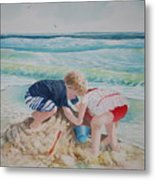 Saving The Sand Castle From The Tide Metal Print