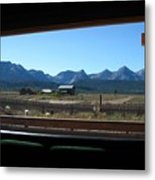 Sawtooth Mountains From Cafe Window Metal Print