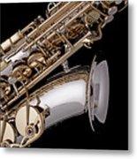 Saxophone Isolated Black Metal Print by M K  Miller