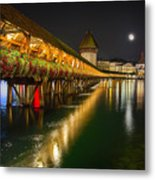 Scenic Night View Of The Chapel Bridge In Old Town Lucerne Metal Print