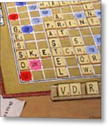 Scrabble Gesso Misplayed Metal Print