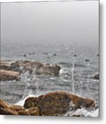 Sea Spray In Fog Metal Print