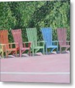 Seaside Chairs Metal Print