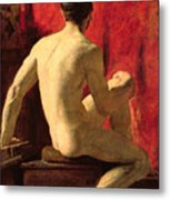 Seated Male Model Metal Print by William Etty