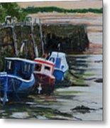 Seaton Sluice Harbour At Low Tide. Metal Print