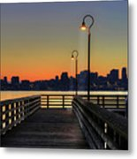 Seattle Skyline From The Alki Beach Seacrest Park Metal Print by David Gn Photography