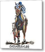 Secretariat At The Belmont Mural Metal Print