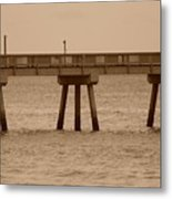 Sepia Pier Metal Print