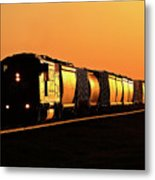 Setting Sun Reflecting Off Train And Track Metal Print