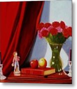Sewing Carnations Metal Print