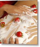 Sexy Nude Woman Body Covered With Cream And Strawberries Metal Print