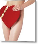 Sexy Young Woman With A Valentine Gift Metal Print