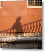 Shadow Of A Person Crossing The Shadow Of A Bridge In Venice Metal Print