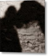 Shadow Of Horse And Girl - Vertical Metal Print