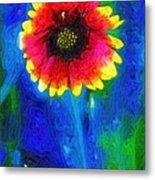 Shaggy Moon For A Shaggy Flower Metal Print