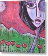 She Loved The Poppies Metal Print