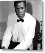 Sidney Poitier, On The Set For The Film Metal Print