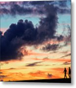 Silhouettes Of Three Girls Walking In The Sunset Metal Print
