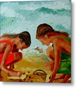 Sisters On The Beach Metal Print