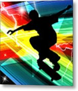 Skateboarder In Criss Cross Lightning Metal Print by Elaine Plesser