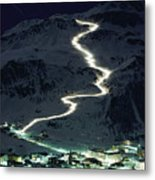 Skiers Bearing Torches Ski Down Mont Metal Print