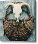 Skull Basket Metal Print