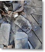 Slate On Floor Boards Metal Print by Terry  Wiley