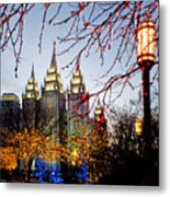 Slc Temple Lights Lamp Metal Print