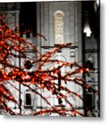 Slc Temple Red White N Black Metal Print by La Rae  Roberts