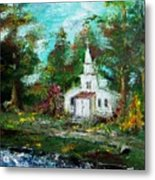 Smokey Mountains Church Metal Print