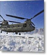 Snow Flies Up As A U.s. Army Ch-47 Metal Print