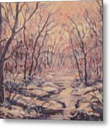 Snow In The Woods. Metal Print