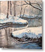 Snow On Riverbank Metal Print