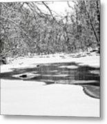 Snow On The Stream Metal Print