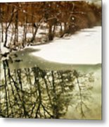 Snow Pond Metal Print
