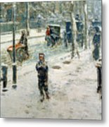 Snow Storm On Fifth Avenue Metal Print by Childe Hassam
