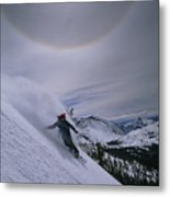 Snowboarding Down A Peak In Yosemite Metal Print
