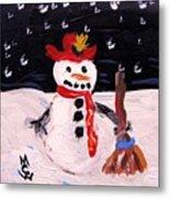 Snowman Under The Stars Metal Print
